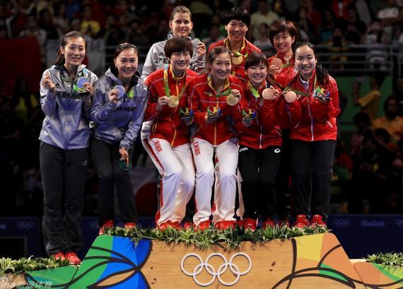 里約奧運桌球女團頒獎典禮
